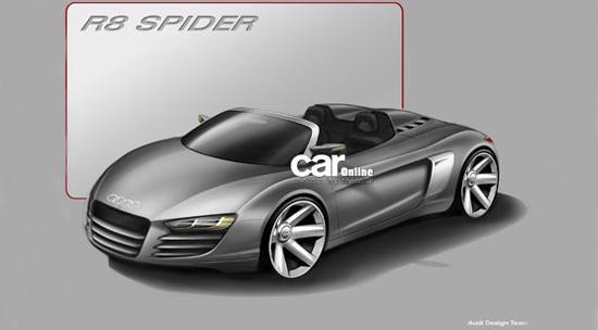 这是奥迪即将推出的R8 Spider的第一张图片。新车将配备一个可拆卸的Targa风格的顶篷,而不是帆布软顶或金属折叠硬顶,这就要求对R8的结构进行更大的调整并使车身重量增加不少。 R8 Spider将在座椅后面增加两个通风口以便让更多的冷空气进入后置引擎。除了格栅两侧设有